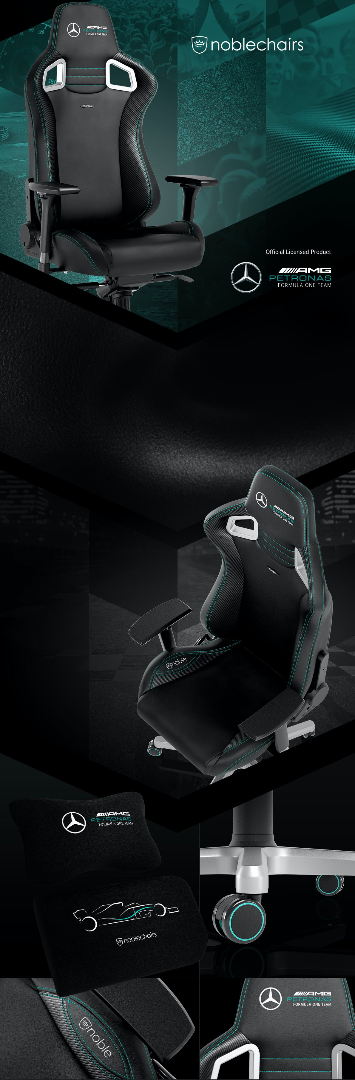 Mercedes Amg Petronas F1 Team 2021 Edition Noblechairs Premium Gaming Chairs