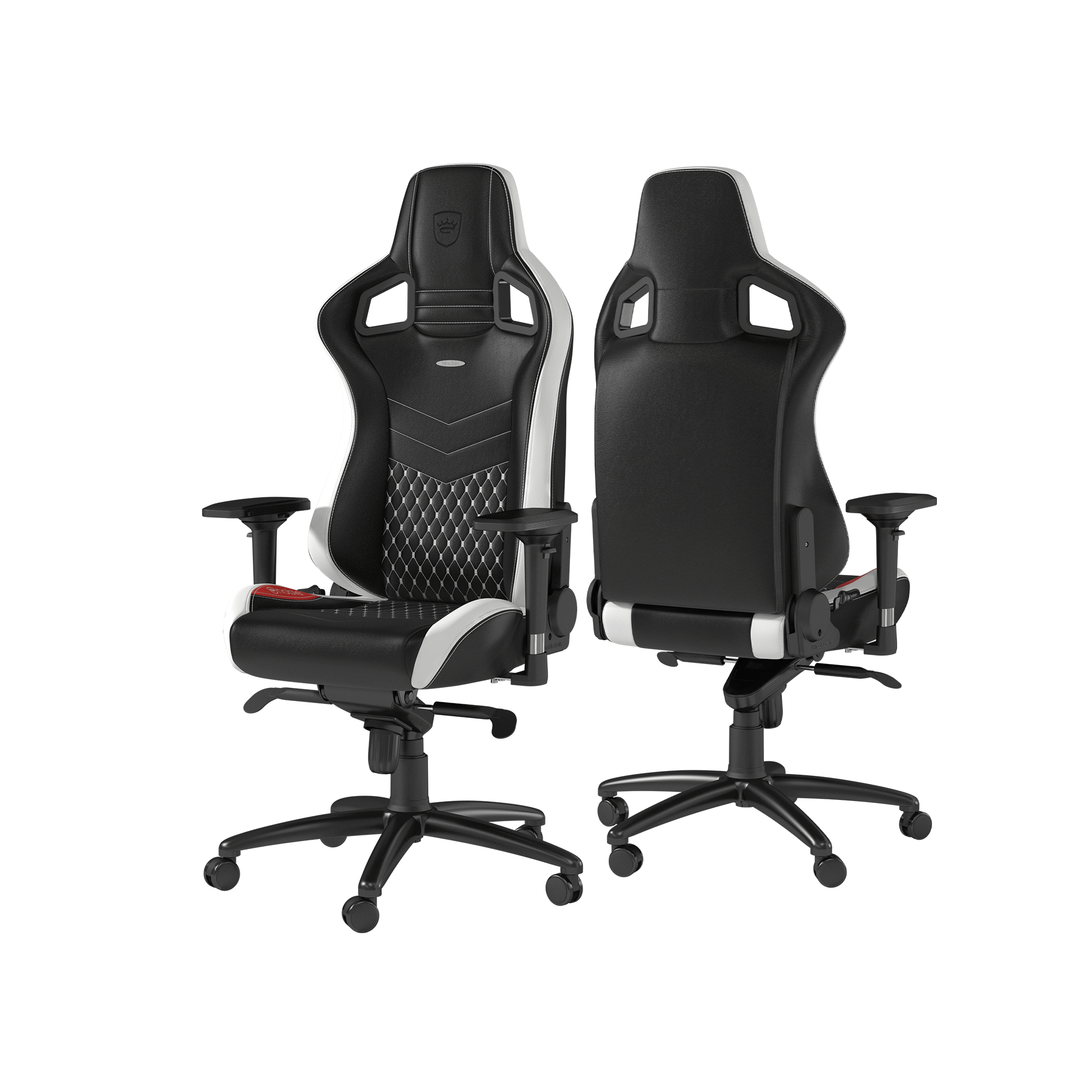 Noblechairs - EPIC Real Leather Black / White / Red